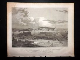 Clarke C1820 Antique Print View of the City of Malta on the side of the Cotonere